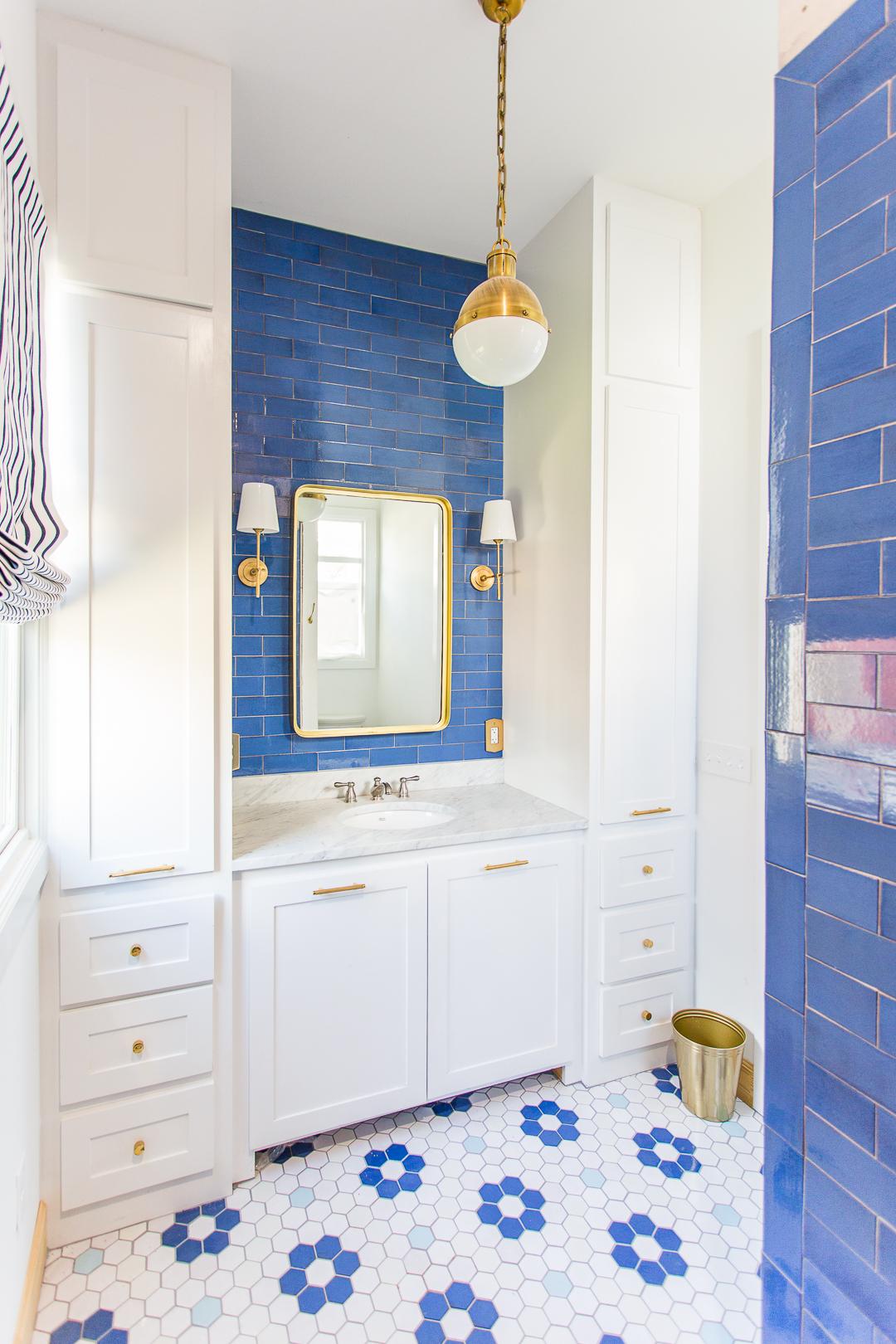 lake house master bathroom reveal handmade blue tile mercury mosaic tile visual comfort lighting bathroom vanity