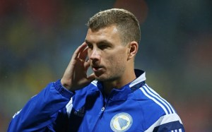 Striker Bosnia Edin Dzeko - Bosnia & Herzegovina v Wales - UEFA Euro 2016 Qualifying Group B