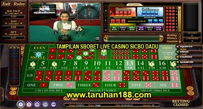 Tampilan Sbobet Live Casino Sicbo Dadu