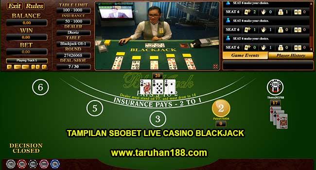 Tampilan Sbobet live Casino Blackjack