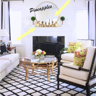 Love the golden pineapples. Image via Maggie Stephens Interiors
