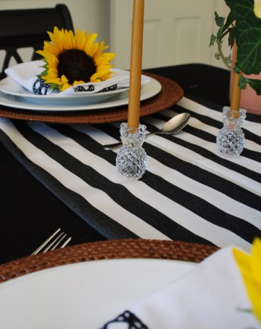 Pineapple Candlesticks for Black and White Themed Tablescape
