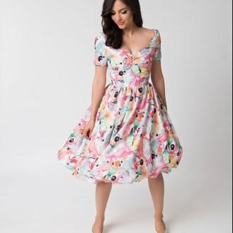 Unique_Vintage_1950s_White_Multicolor_Parrot_Print_Draper_Swing_Dress_6