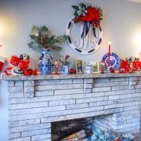 Blue and White Mantel Decor: Fall to Christmas
