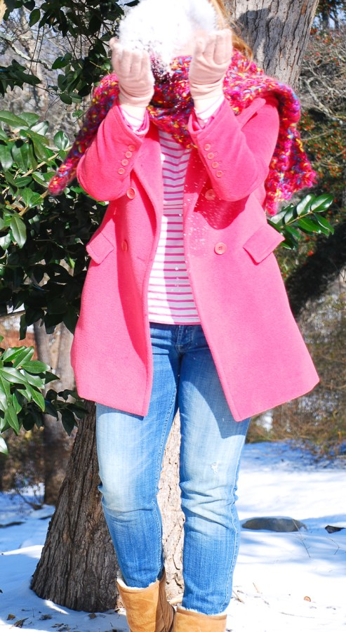 A pink coat to trounce those winter blues! #pinkcoat #modernclassicstyle #snowdaycasual