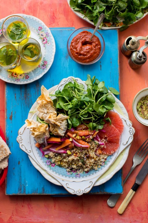 Moroccan-Couscous-Salad-with-Feta-Parcels-Watercress-and-Harissa-Yoghurt