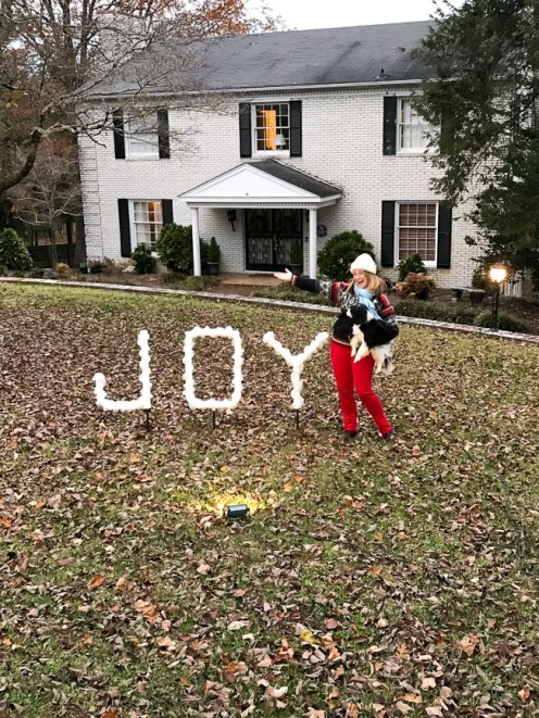 DIY outdoor Christmas decoration - PVC joy sign lit at night by spotlight in front of white brick house with woman and dog