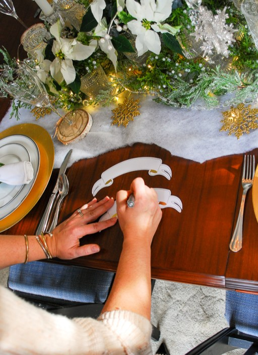 Winter tablescape tutorial - write the placards