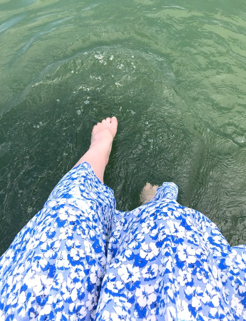 Sticking my toes in the water at Lake Glenville