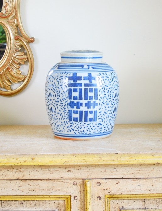 A double happiness ginger jar
