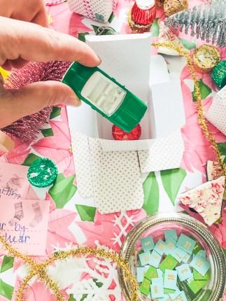 Fill advent mini-present boxes with treats like Matchbox car