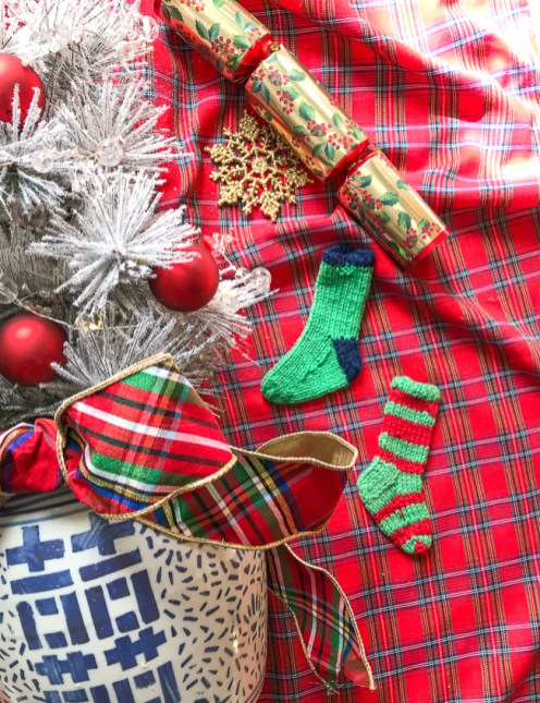 Mix complex plaids with deconstructed plaids in your Christmas decor like this placemat with a wide spaced plaid and this more complex plaid tablecloth.