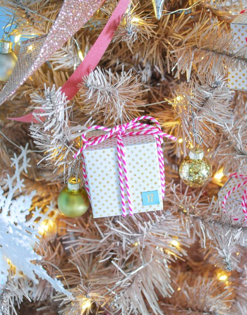 DIY advent calendar present ornament hangs on tree