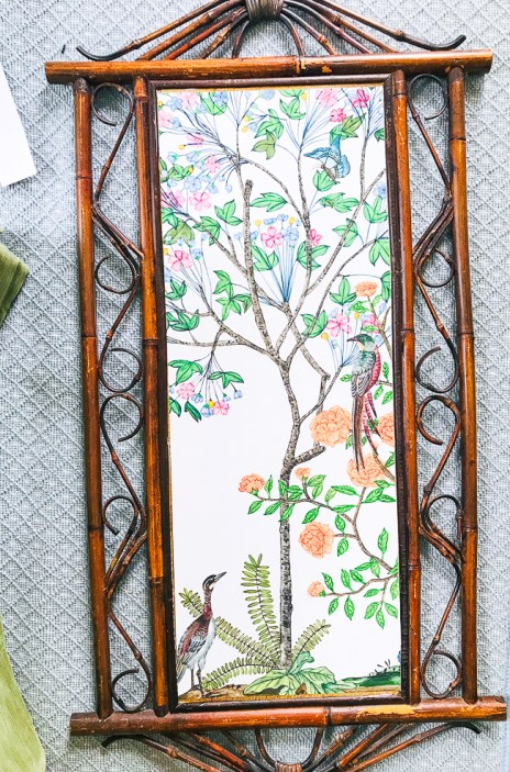 Chinoiserie panel paper laid down on bamboo frame