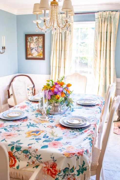 Vintage chintz fabric turned into a tablecloth with bullion fringe
