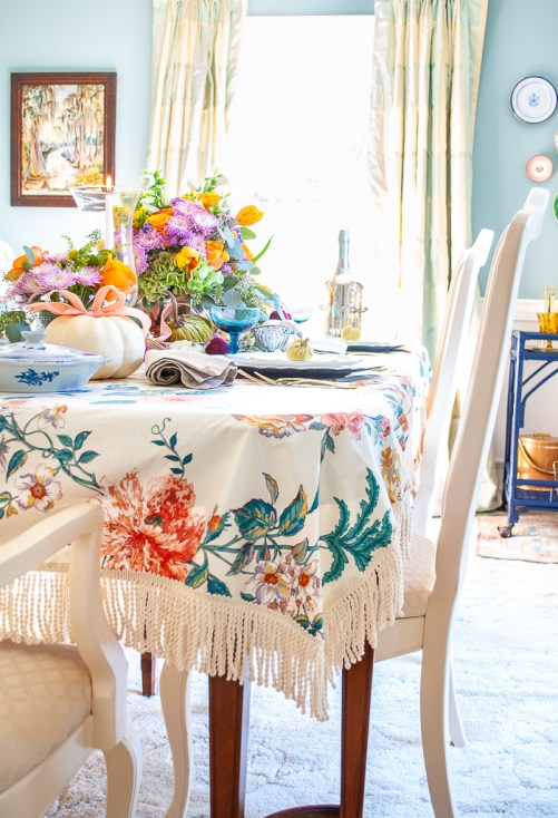 Detail photo showing bullion fringe on vintage chintz cloth for fall tablescape