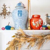 My Fall Mantel with Ginger Jars & Velvet Pumpkins