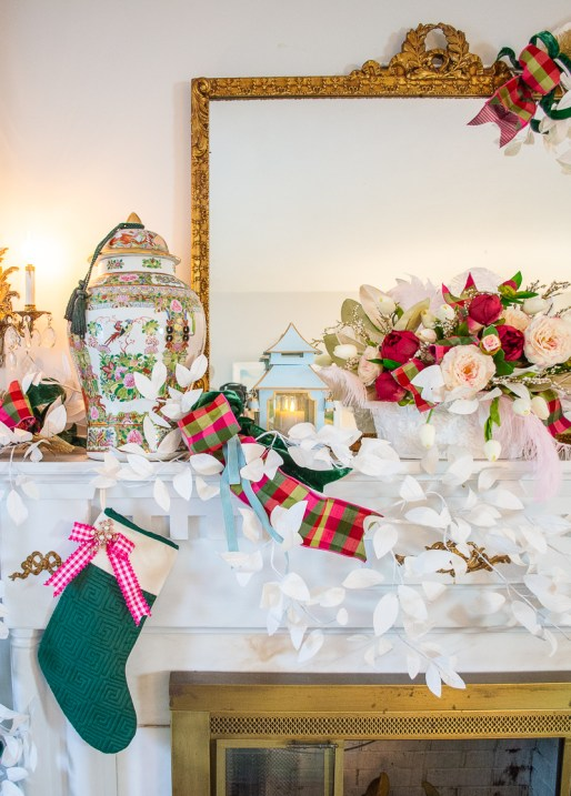 White paper branches, pagodas, Rose Medallion temple jars, and pink florals decorate this very Chinoiserie Christmas mantel