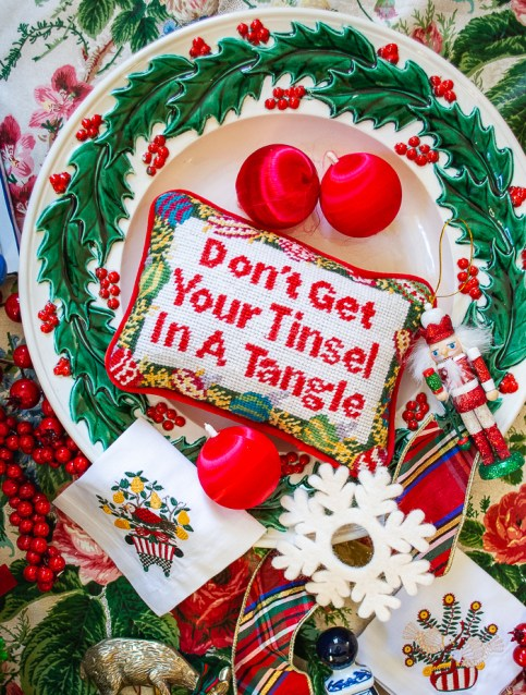 "Grandmillennial Christmas vibes with this sassy needlepoint pillow ""Don't Get Your Tinsel In a Tangle"""