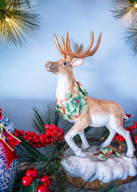 Detail view of Fitz and Floyd reindeer