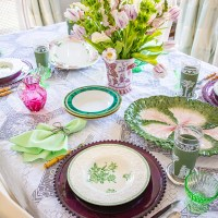 A Green & White Springtime Table with Wedgwood