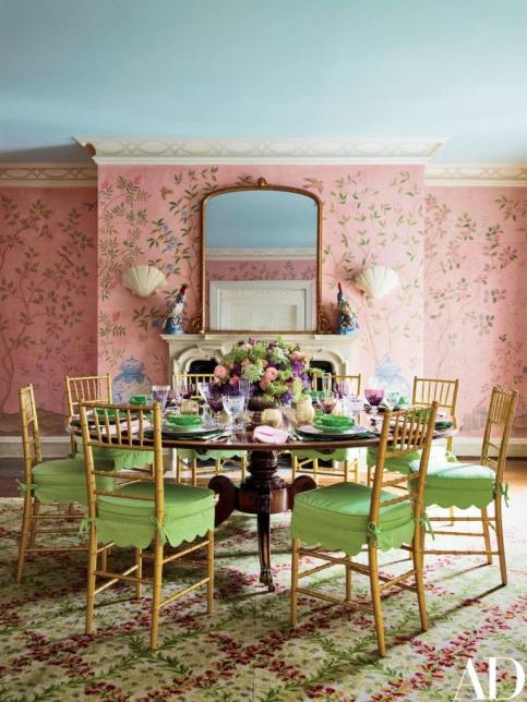 Dining room in aqua, pink, and green designed by Mario Buatta