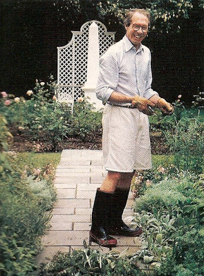 Mark Hampton in his rose garden