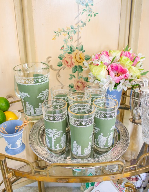 Style your bar cart with unique Jeanette high ball glasses in sage green Jasperware