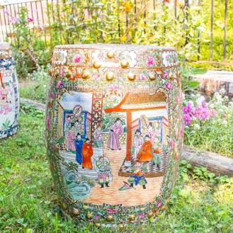 Vintage Mandarin garden stool - Famille Rose, Chinese export