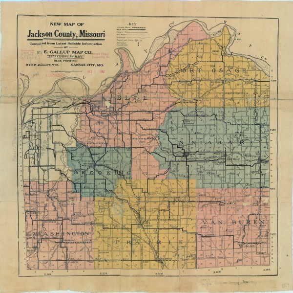 1920 Map of Townships of Jackson County Missouri The