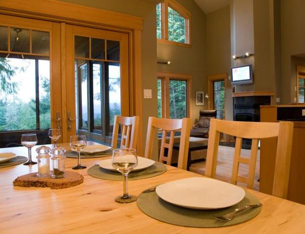 The dining room has lots of natural light.