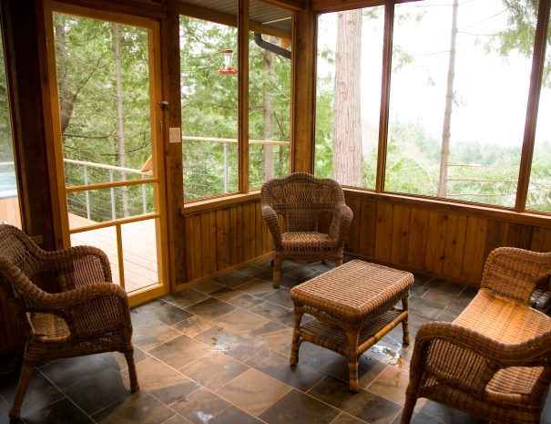 This is the screened in pouch with access to the hot tub deck.