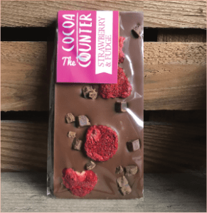 milk chocolate bar with strawberries and chocolate fudge