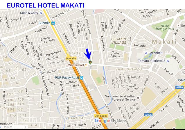 Eurotel Hotel Makati Map