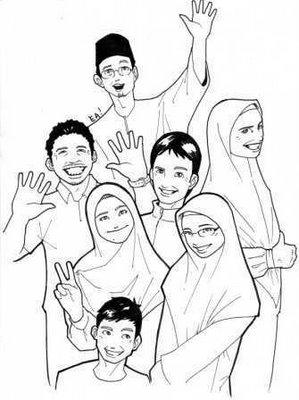 Gambar Anggota Keluarga Muslim : gambar, anggota, keluarga, muslim, Mewarnai, Gambar, Keluarga, Besar, Menarik