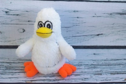 handmade stuffed white penguin