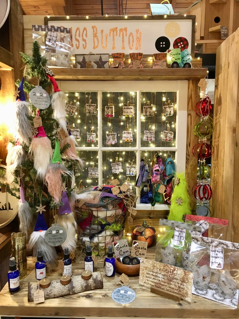 The Brass Button offers fuzzy gnomes, hand sanitizer key rings and more at the Fussy Duck in Salem, Oregon.
