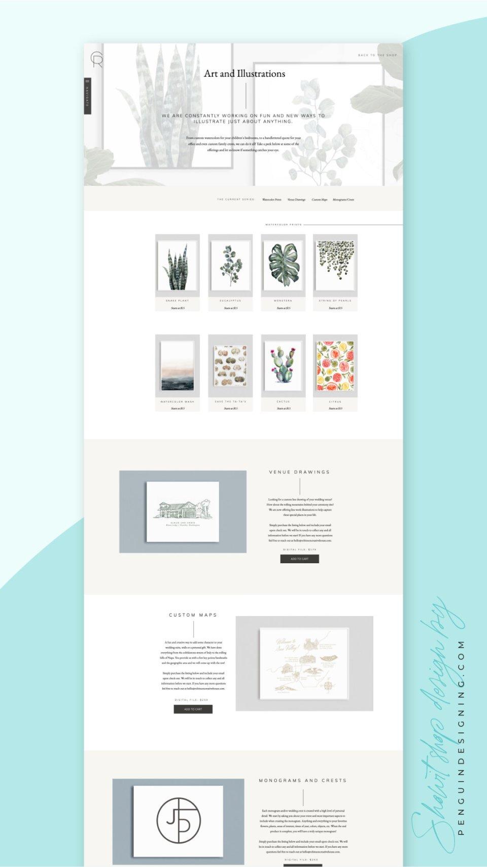 Art shop on Showit designed by Penguin Designing
