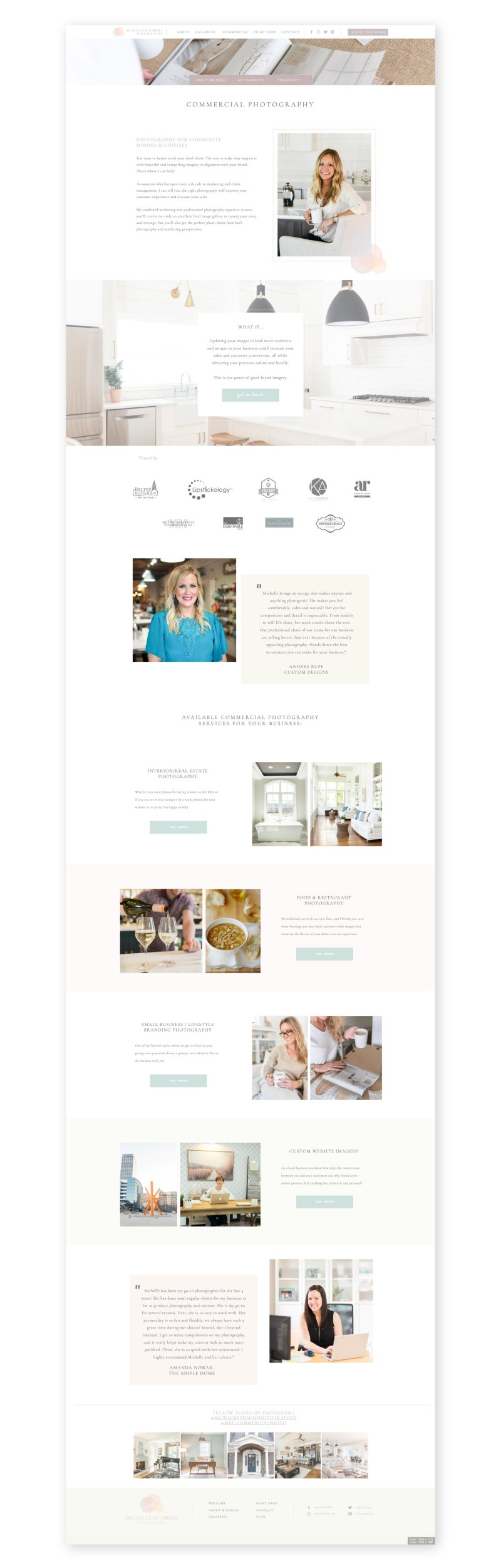 Light and airy editorial Showit website design.