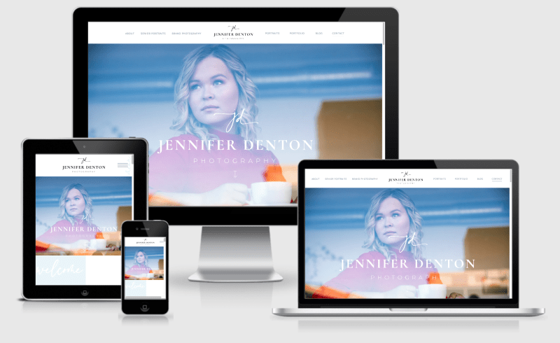 Responsive desktop, tablet, and mobile view of a stylish, creative photography Showit website design and brand refresh.
