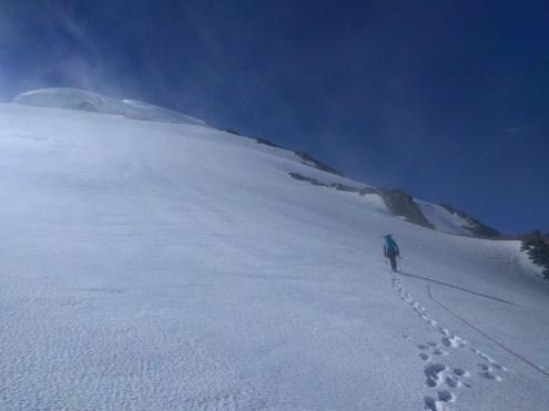 Snow slogging on Baker's upper slopes