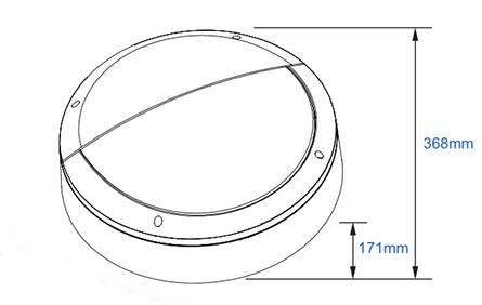 Dart round hood line drawing