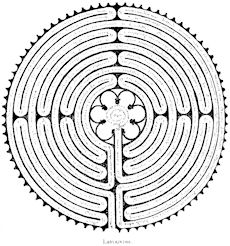 Labyrinth designs appear on pott