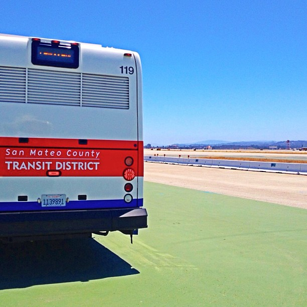 SamTrans buses waiting to aid.
