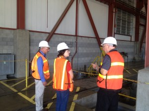 Caltrain board member Rose Guilbault inspects the Caltrain maintenance facility in San Jose.