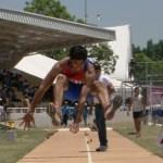 Angel Reynaldo Villalobos Martínez, en la prueba de salto de longitud dentro del campeonato centroamericano y el caribe de atletismo.