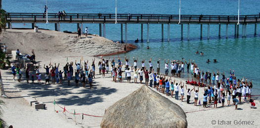 Mano con mano forman gigantesco tiburón ballena en el Coromuel