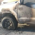 Así quedó el vehículo propiedad de Hipólito David Ceseña, hijo del ex-candidato priísta a la alcaldía de Los Cabos.