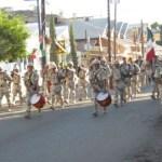 Elementos de la 16ava.CINE del ejército Mexicano que encabezaron el desfile cívico-militar (Enrique Montaño).