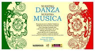 """La cita es en punto de las 18:00 horas, se presentarán los ballets folklóricos """"Nimbé"""", de la Escuela Normal Urbana y el del Tecnológico de La Paz, además, contarán con la participación del grupo """"Arena de Río"""", con su espectáculo de música mexicana """"Vamos a cantar y contar la historia""""."""